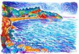 Oddicombe Beach - Torquay, Oil Pastel Print