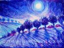 Blue Moonlight - Oil Pastel