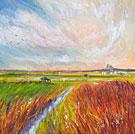 Holy Island Of Lindisfarne - Oil Pastel & Acrylic