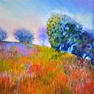 Misty Meadow Morn - Oil Pastel