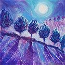 Moonlight In Blue - Oil Pastel