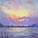 Sunset Across The Water - Oil Pastel
