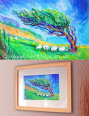 When The Wind Blows - Oil Pastel on board, framed