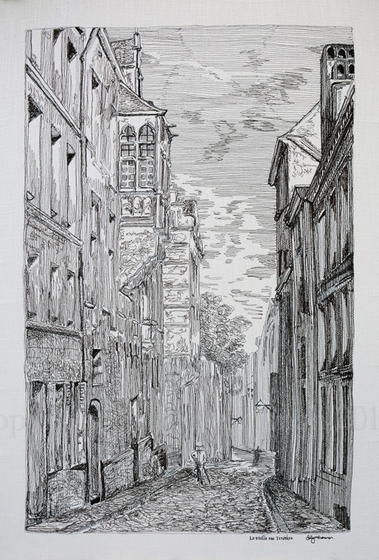 La vieille rue Terarken Gravure  en Broderie