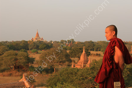 Monk watching the sunset, Bagan