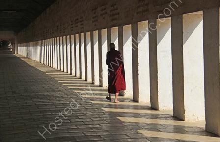 Monk walking in Colonnade