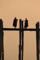 Monks on U Bein Bridge at Sunset