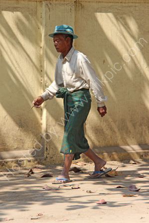 Burmese Man Walking Along a Road