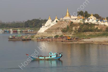 The busy Irawaddy River at Mandalay
