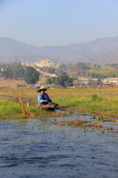 Man in Canoe on Inle Lake