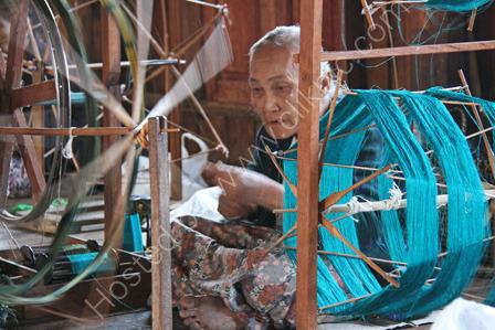 Burmese Woman Weaving