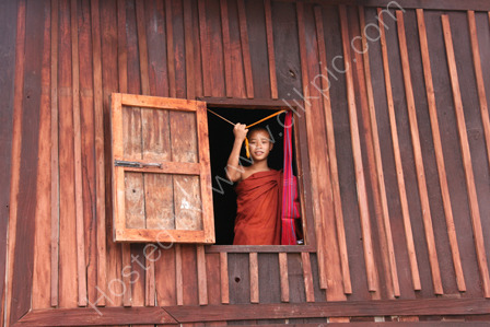 Monk in Window at Monastery
