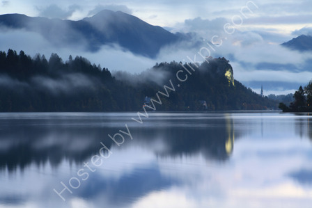 Bled Castle in the Mist at Dawn
