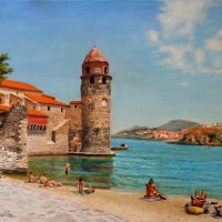 Summer Collioure acrylics on canvas board