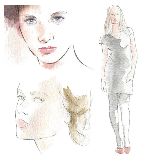 Beauty and fashion illustrations in pencil line & watercolour