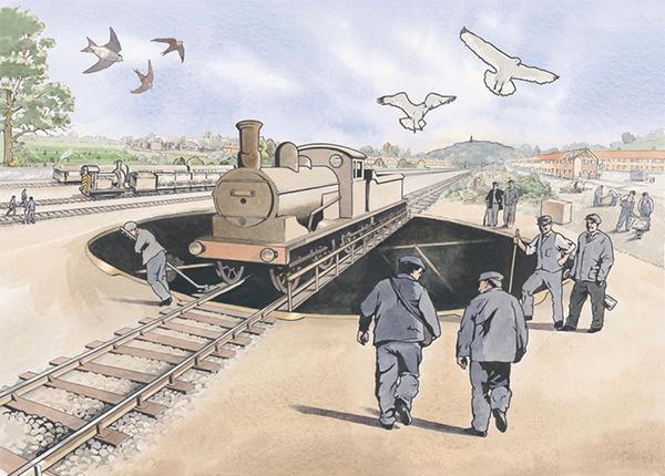 Historical illustration for interpretation panel