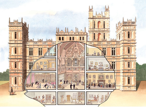 From a series of illustrations for Highclere Castle (Downton Abbey location)