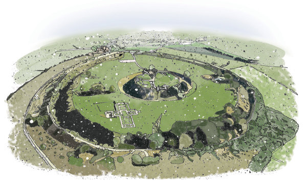 Old Sarum digital illustration