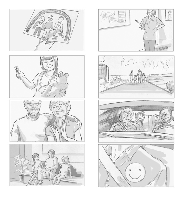 Selection of storyboards produced for Merck Ltd. II