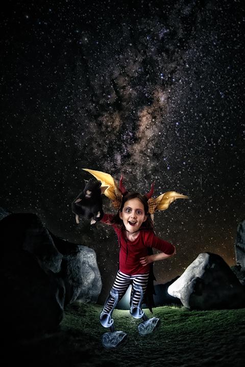 Girl under the stars