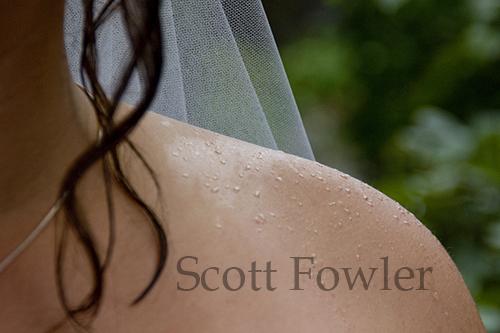 Rain drops on the bride
