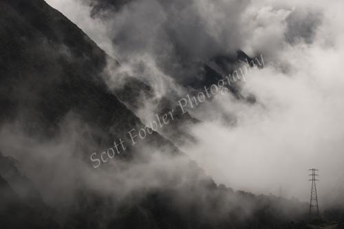 Otira valley on a misty day