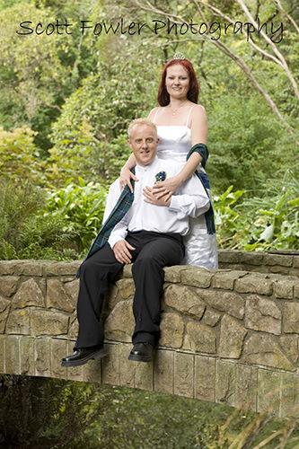 Bride & groom over the stoney bridge