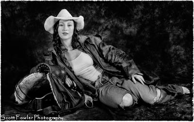 Cowgirl & Saddle