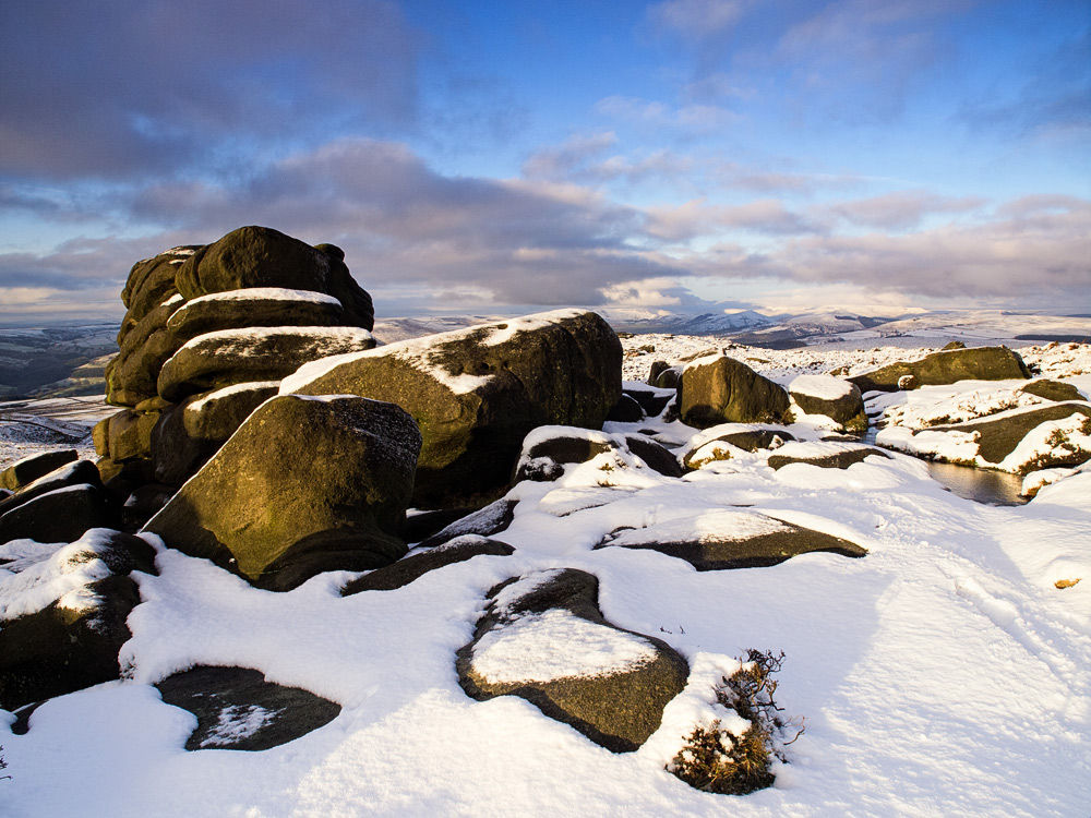 Shelter rock in the snow
