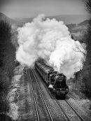 Steam train in the Hope Valley B&W