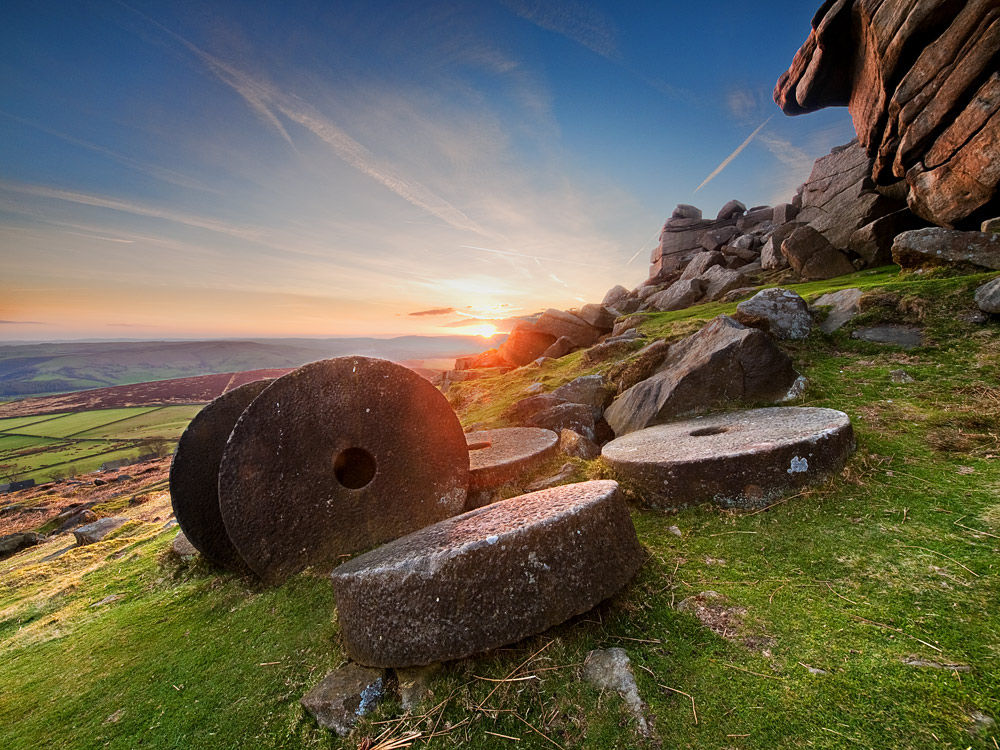 Sunset over Millstones on Stanage Edge - Derbyshire