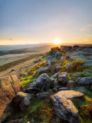 Spring sunset on Stanage Edge