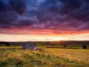 Field barn sunset