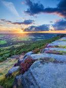 Sunset over heather on Curbar Edge