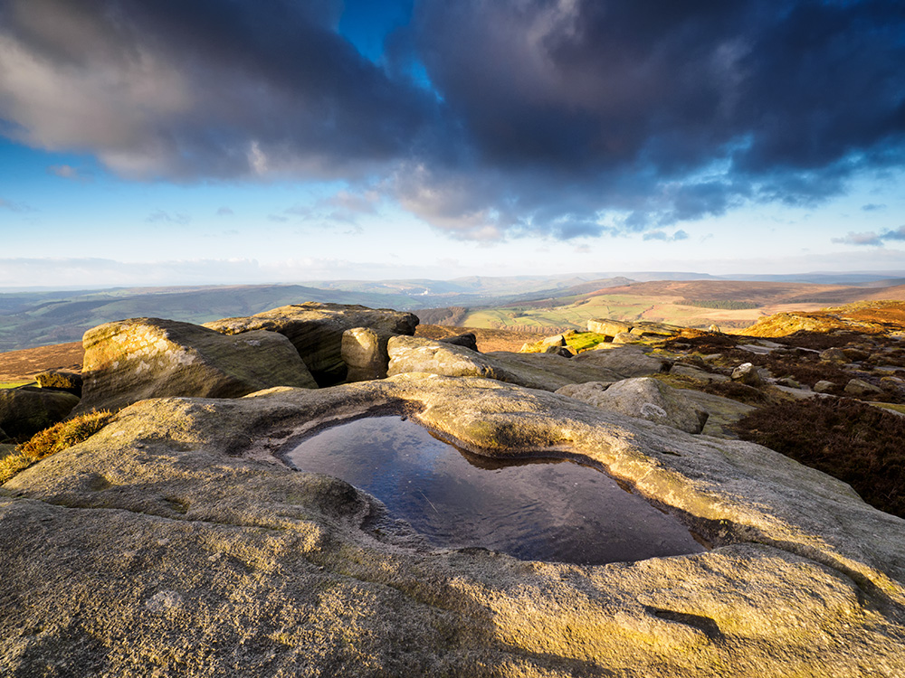 Morning reflection on Stanage Edge