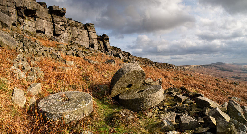 Abandoned millstones on Stanage