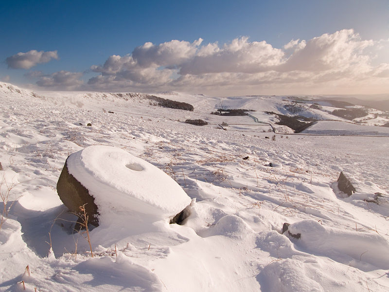 Snow covered Millstone on Stanage Edge.