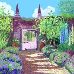 Kitchen Garden with Pink Gate