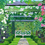 The Rose Pergola with Pink Bench