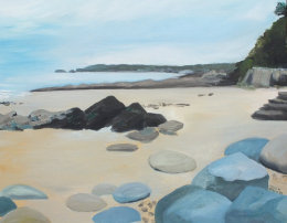 SOLD.  South beach, Pembrokeshire. Toward the West.