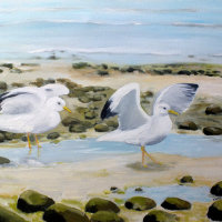 """SOLD """"Gulls on the shore, Ferring beach."""" Available for Sale at 'Inspired by the Sea', next to Worthing Pier"""