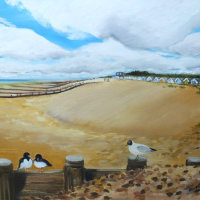 """""""A walk to the Bluebird, Ferring beach"""" available for sale at 'Inspired by the Sea', next to Worthing Pier."""