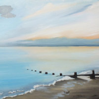 """SOLD """"Ferring beach on a winter afternoon. 1"""". Available for Sale at 'Inspired by the Sea' next to Worthing Pier."""
