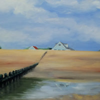 """""""Bluebird cafe from the beach"""" SOLD"""
