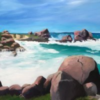 """""""The Pink Granite Coast, Brittany, France"""" 3ft W. X 2 ft. H  Oil on canvas."""