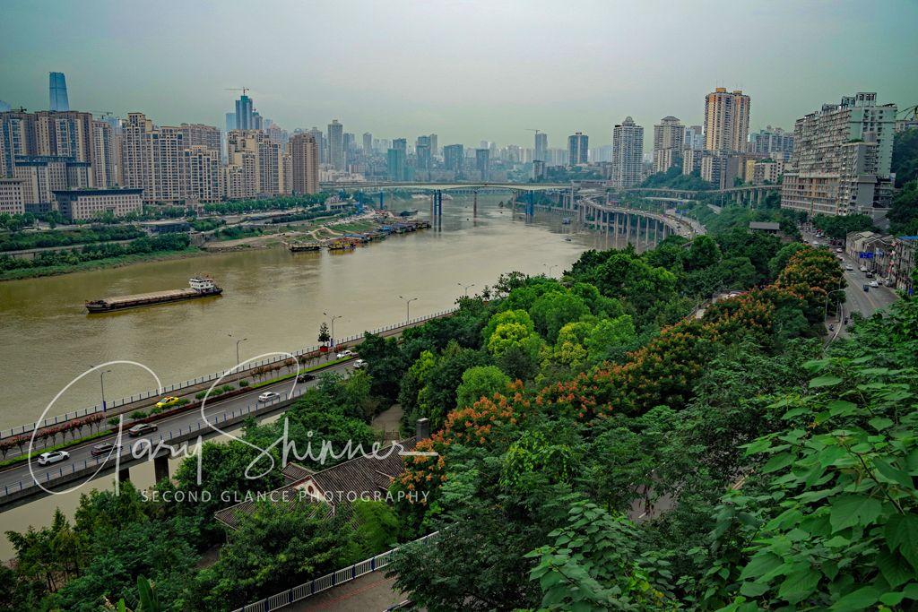 Jialing River in the city of Chongching view