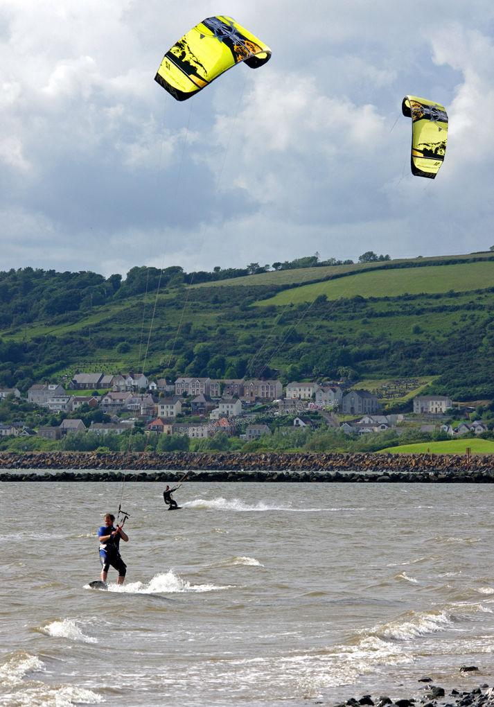 kite wind surfers - llanelli beach