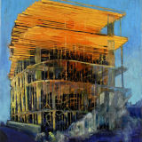 Yellow Shuttering, oil on canvas, 35 x 30 ins