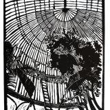 """Palmhouse"" , Linocut on Japanese paper, 45 x 93cm, edition of 15"