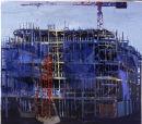 Blue Scaffolding II, oil on canvas, Simon McWilliams